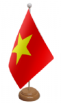Vietnam Desk / Table Flag with wooden stand and base
